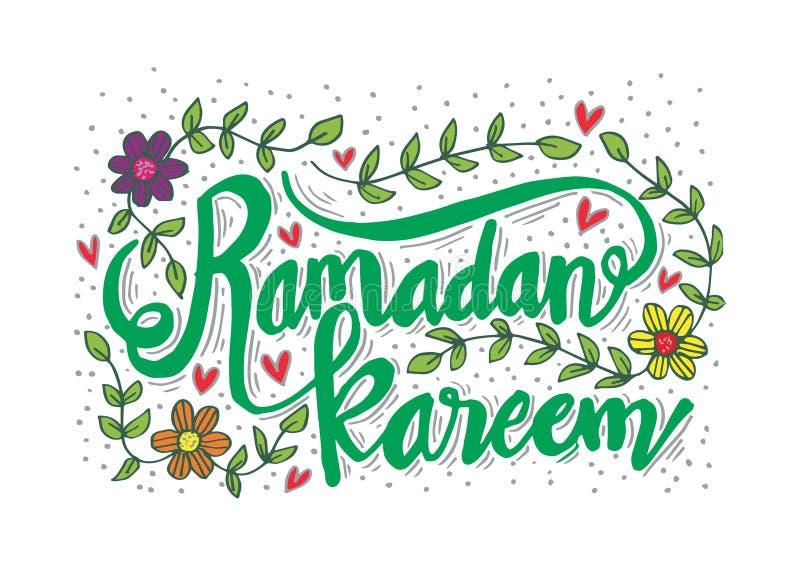 La mano de Ramadan Kareem bosquej? las letras con el ornamento floral stock de ilustración