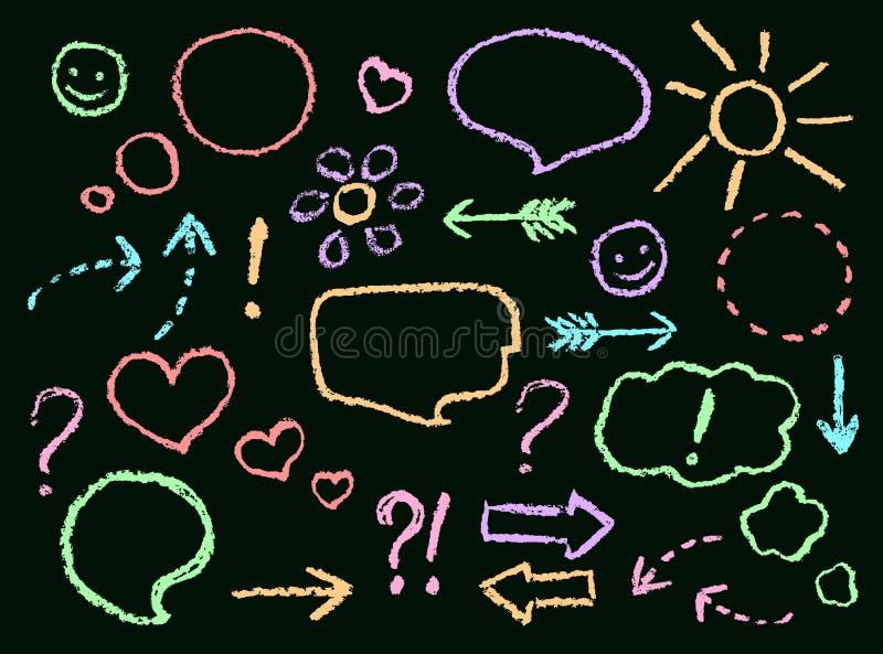 La mano de la tiza o del creyón que dibuja discurso divertido del garabato burbujea, las flechas, forma del corazón, sonrisa, mue stock de ilustración