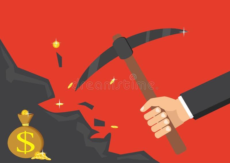 La mano de un hombre de negocios sumerge una roca, buscando para un tesoro stock de ilustración