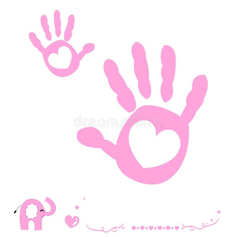 La mano del bebé imprime la tarjeta de llegada con el corazón y el elefante stock de ilustración