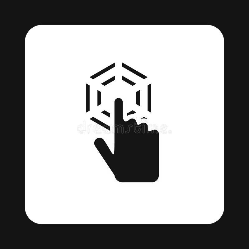 La mano del cursor hace clic el icono, estilo simple stock de ilustración