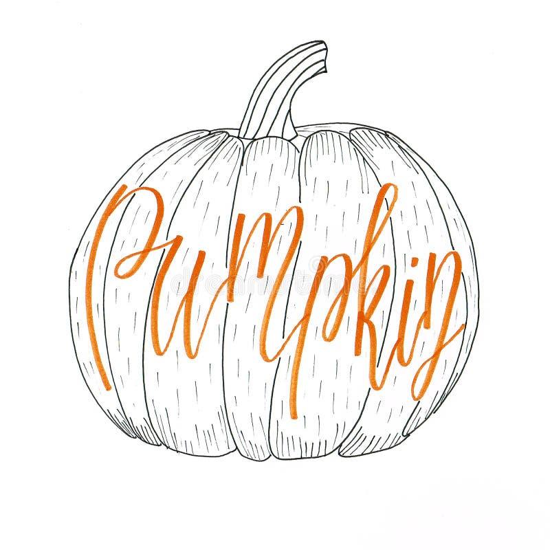 La mano del ` de la calabaza del ` que ponía letras a la inscripción anaranjada en el ambiente de Halloween puso en un dibujo del libre illustration