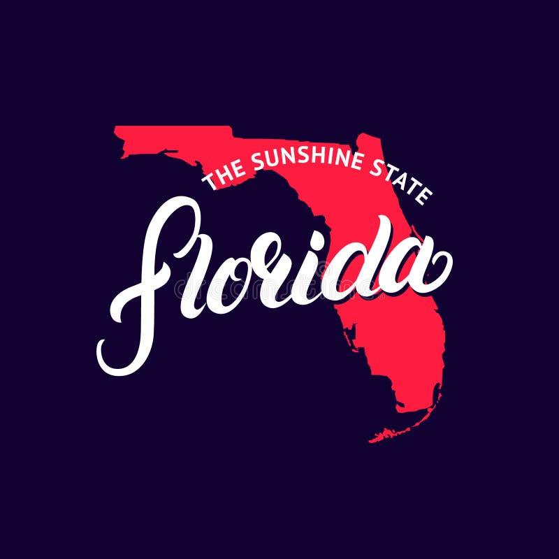 La mano del estado de la Florida escrita poniendo letras a palabra y al mapa para la camiseta para imprimir, carda y cartel libre illustration