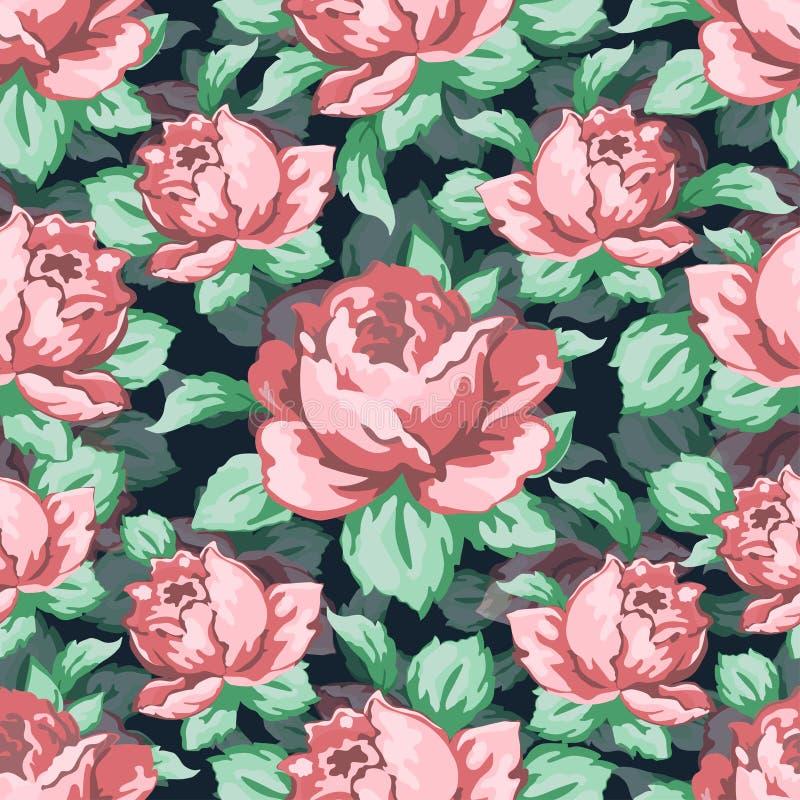La mano del fiore di Rosa che disegna il modello senza cuciture, vector il fondo floreale, ornamento floreale del ricamo Rosa tir illustrazione di stock