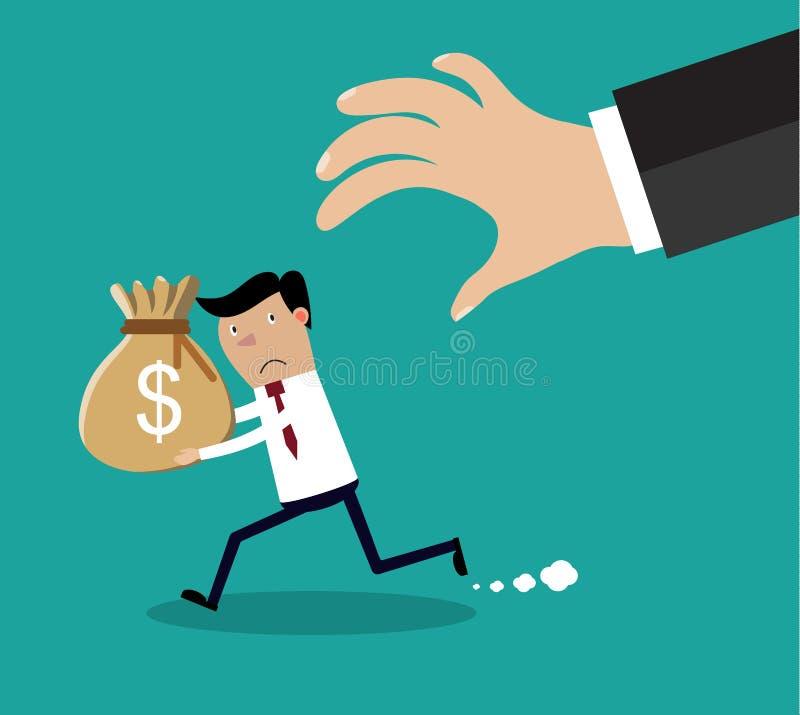 La mano del fumetto prova ad afferrare la borsa di soldi illustrazione vettoriale