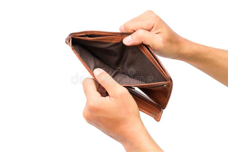 La mano del hombre abre una cartera vacía aislada en el fondo blanco con foto de archivo libre de regalías