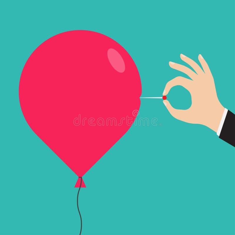 La mano del hombre con una aguja perfora el globo ilustración del vector