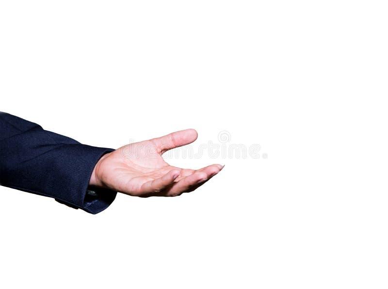 La mano del hombre de negocios abierta y lista para recibir o para ayudar aisló en el fondo blanco fotos de archivo libres de regalías