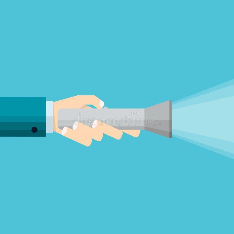La mano del hombre de negocios celebra el icono de la linterna y la iluminación del w ilustración del vector