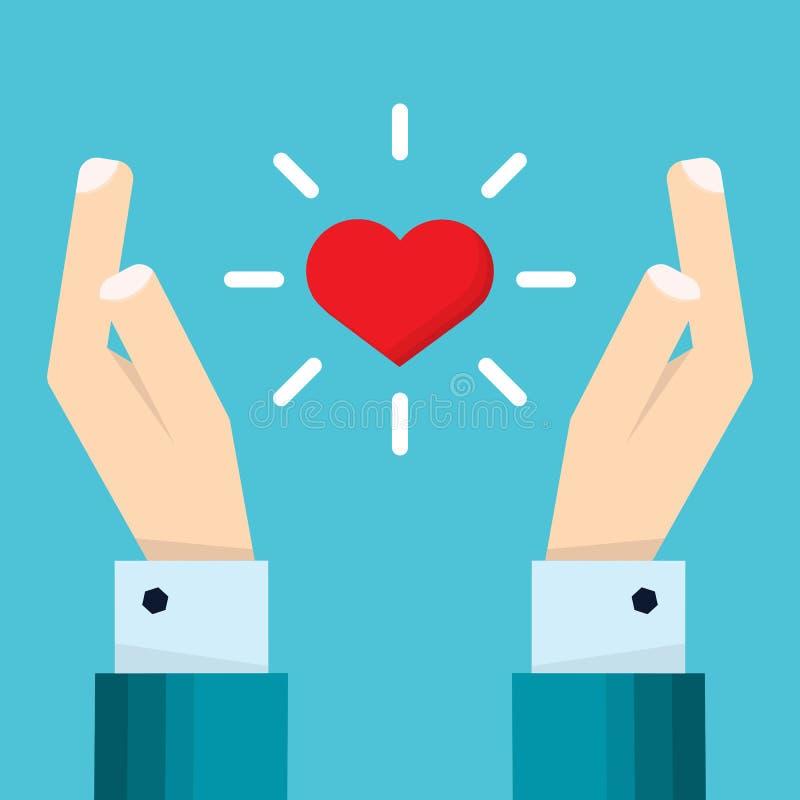 La mano del hombre de negocios lleva a cabo un corazón que flota entre dos manos ilustración del vector