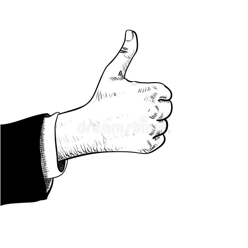 La mano del hombre de negocios manosea con los dedos para arriba stock de ilustración