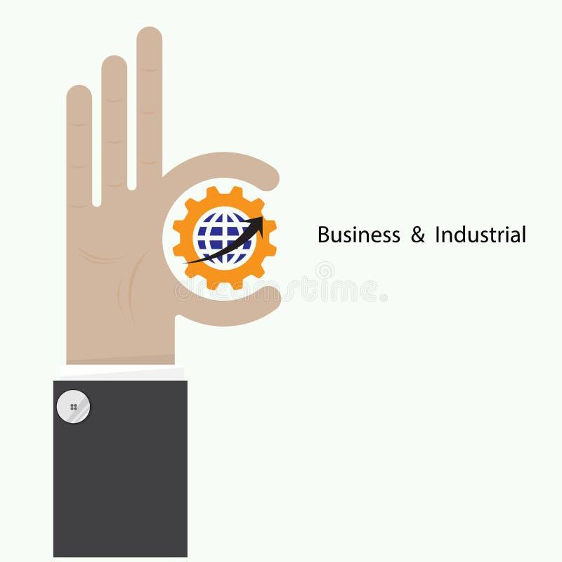 La mano del hombre de negocios muestra símbolo de la blanco como concepto del negocio ilustración del vector