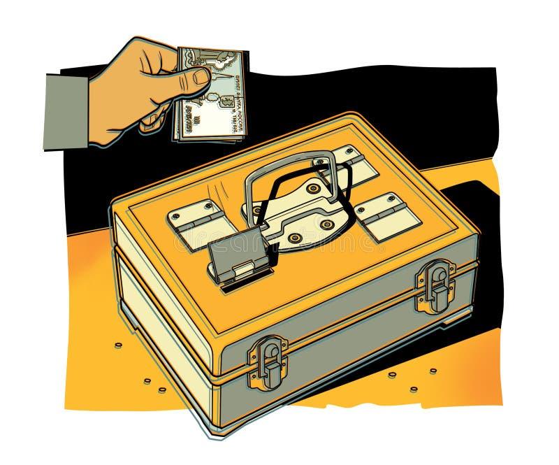La mano del hombre pone las cuentas de las rublos de Rusia en una caja fuerte portátil del metal Fondo de parte del intervalo ilustración del vector
