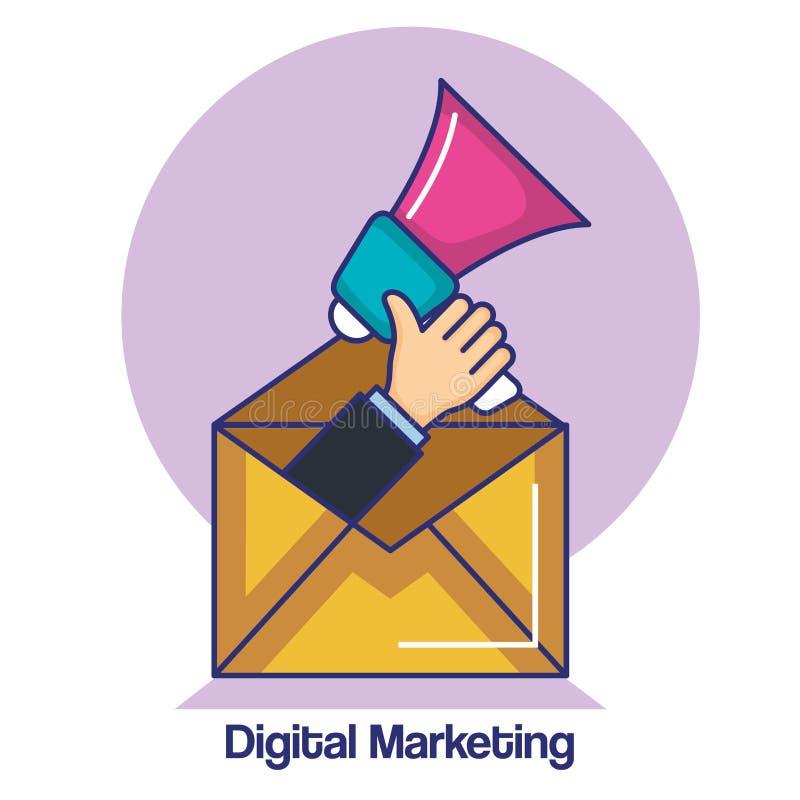 La mano del márketing de Digitaces está sosteniendo un megáfono dentro de un símbolo del sobre stock de ilustración