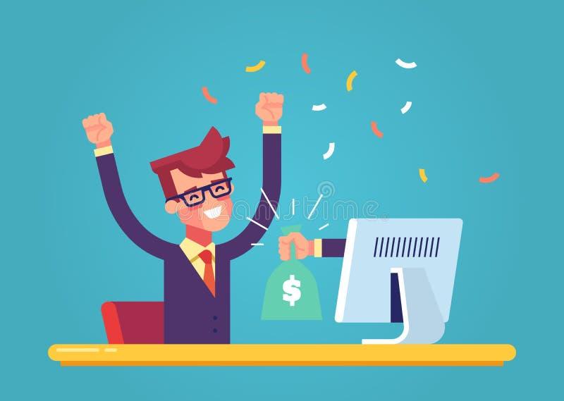 La mano del monitor estira un bolso del dinero a un hombre feliz Concepto de ganancias en Internet Vector libre illustration