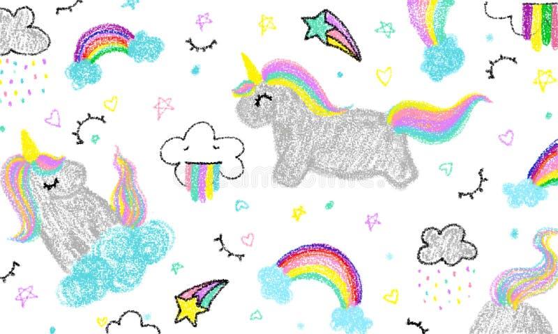 La mano del niño lindo del unicornio dibujada en color en colores pastel stock de ilustración