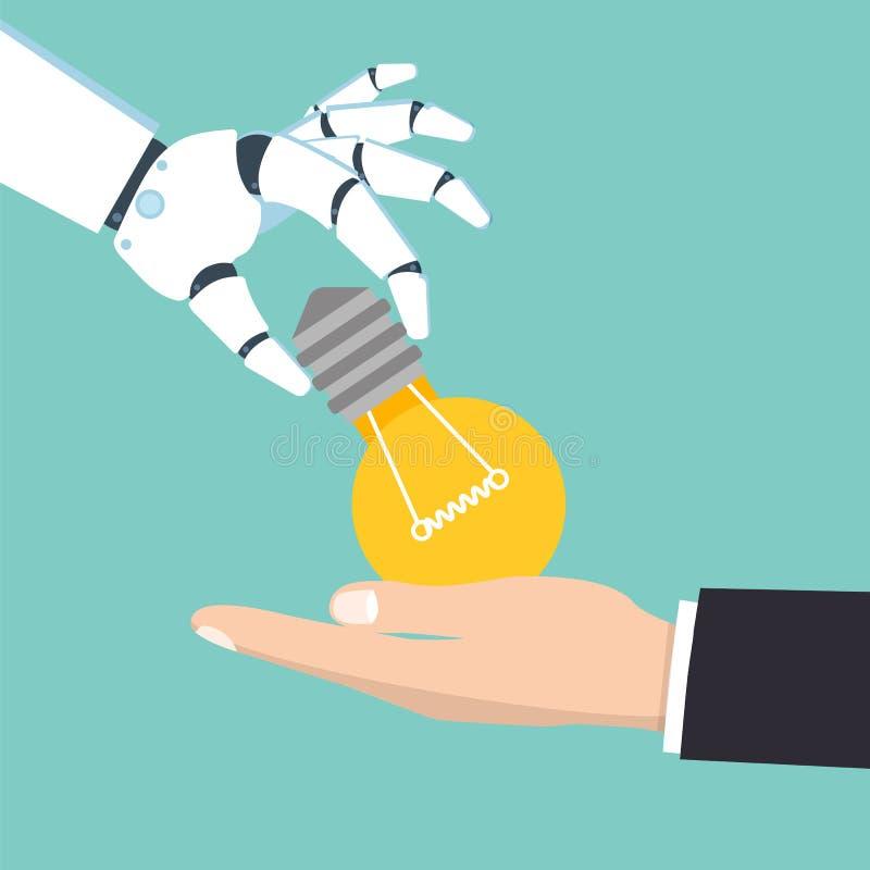 La mano del robot da a hombre un bulbo Concepto de la idea stock de ilustración