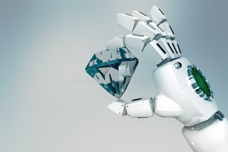 la mano del robot de la representación 3D sostiene un diamante en un fondo ligero ilustración del vector