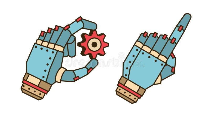 La mano del robot sostiene el engranaje ilustración del vector