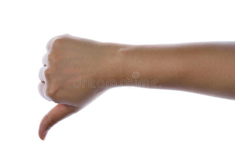 La mano del ` s de las mujeres muestra el pulgar abajo fotos de archivo libres de regalías