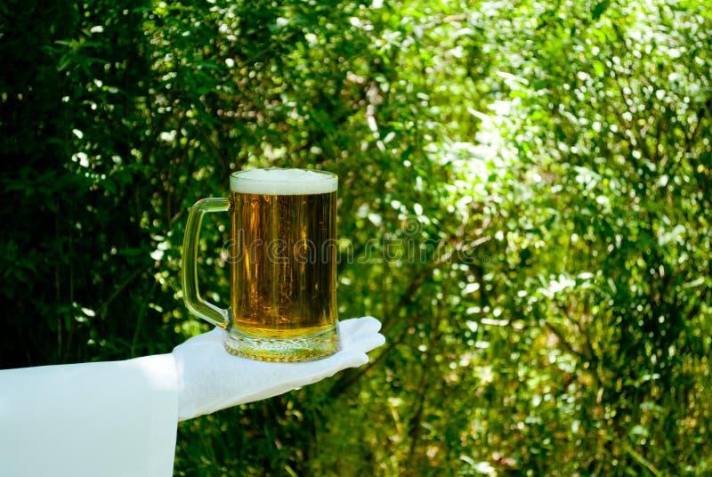 La mano del ` s del cameriere in un guanto bianco tiene un vetro di birra contro lo sfondo della natura immagine stock libera da diritti