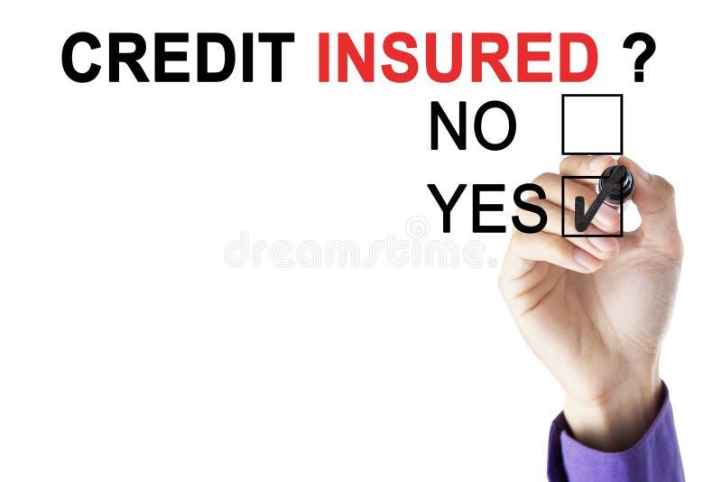 La mano del ` s del hombre de negocios es asegurador aprobado del crédito imagenes de archivo