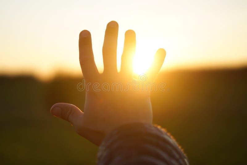 La mano del ` s dell'uomo chiude il sole fotografie stock