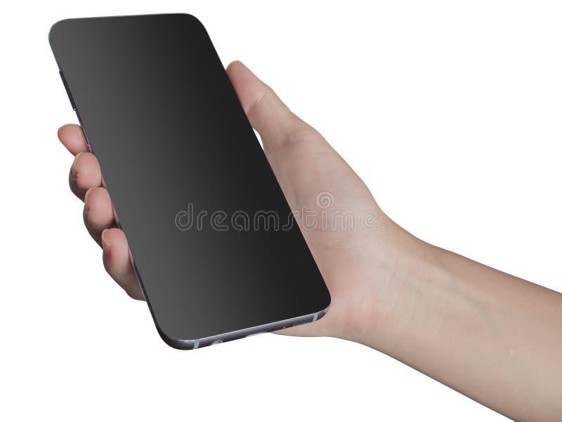 la mano del smartphone en capa transparente tiene trayectoria de recortes imagenes de archivo