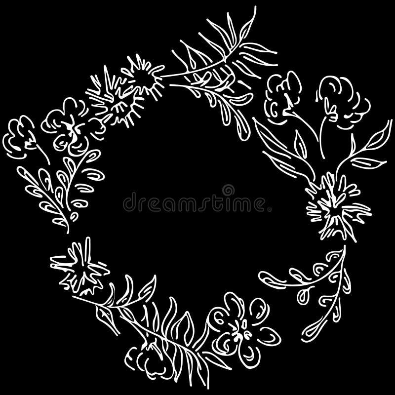 La mano del vector dibujada bosqueja con las hojas tropicales y las flores aisladas en el fondo blanco Marco floral botánico exót ilustración del vector