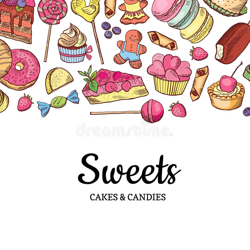 La mano del vector dibujada coloreó los dulces hace compras o el fondo de la confitería stock de ilustración
