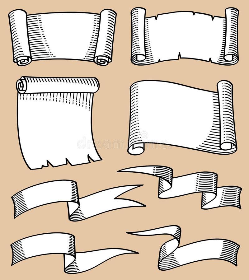 La mano del vintage bosquejó volutas y el sistema del vector de las banderas de la cinta libre illustration