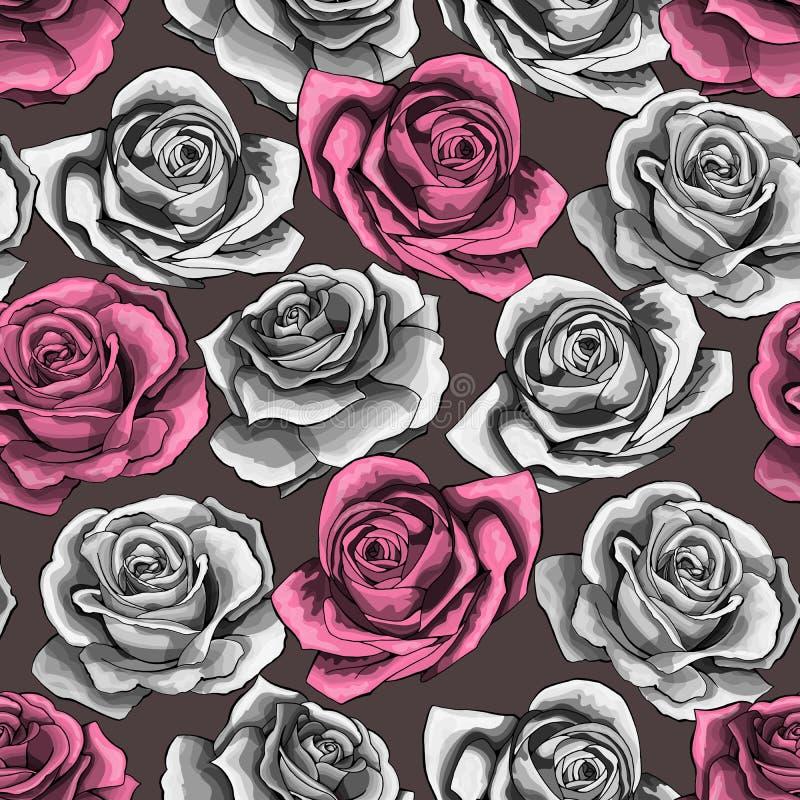 La mano del vintage del vector dibujada subió modelo inconsútil floreciente del flor de la flor stock de ilustración