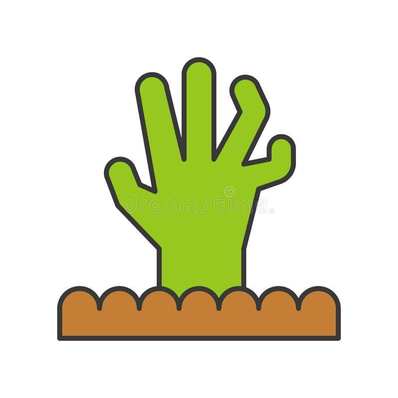 La mano del zombi del cementerio, Halloween relacionó el icono, llenó outli libre illustration