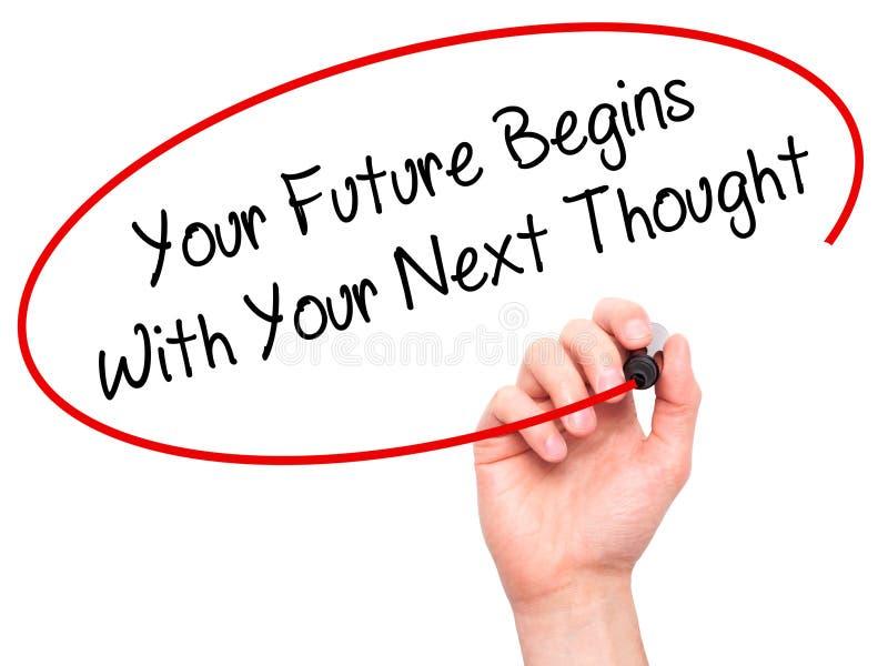 La mano dell'uomo che scrive il vostro futuro comincia con il vostro pensiero seguente con fotografia stock