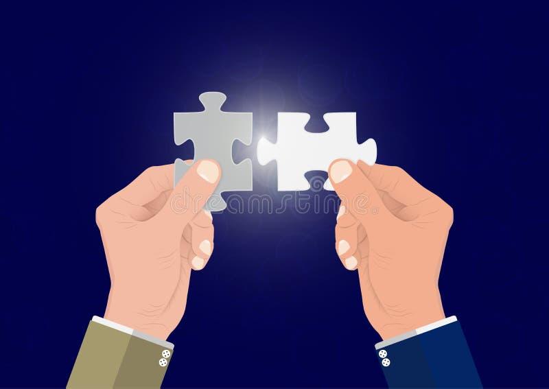 La mano dell'uomo d'affari che collega insieme un puzzle di due pezzi di puzzle, riuscito concetto di affari della soluzione royalty illustrazione gratis