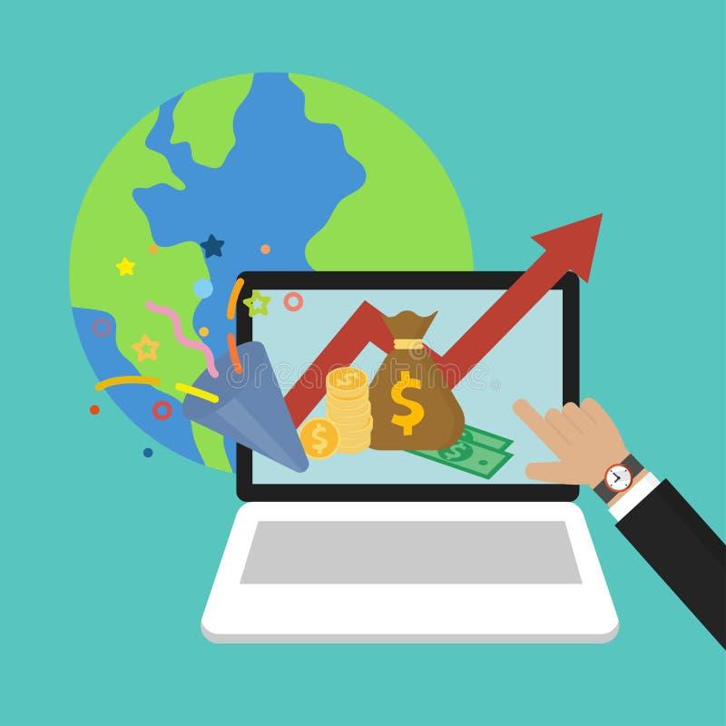 La mano dell'uomo d'affari che indica ai profitti dei soldi ed al risparmio sul computer portatile, simbolo del mondo di economia illustrazione vettoriale