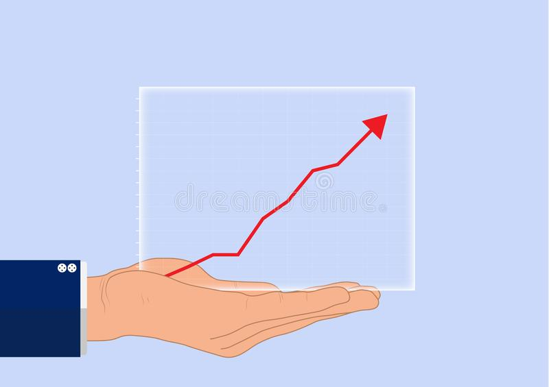 La mano dell'uomo d'affari che tiene il diagramma finanziario trasparente di crescita, concetto di affari royalty illustrazione gratis
