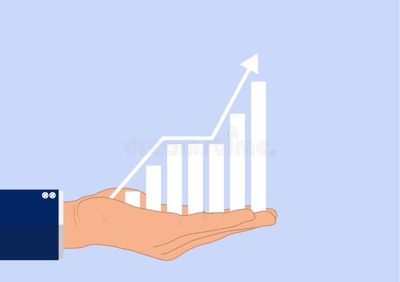 La mano dell'uomo d'affari che tiene il diagramma finanziario trasparente di crescita, concetto di affari illustrazione vettoriale