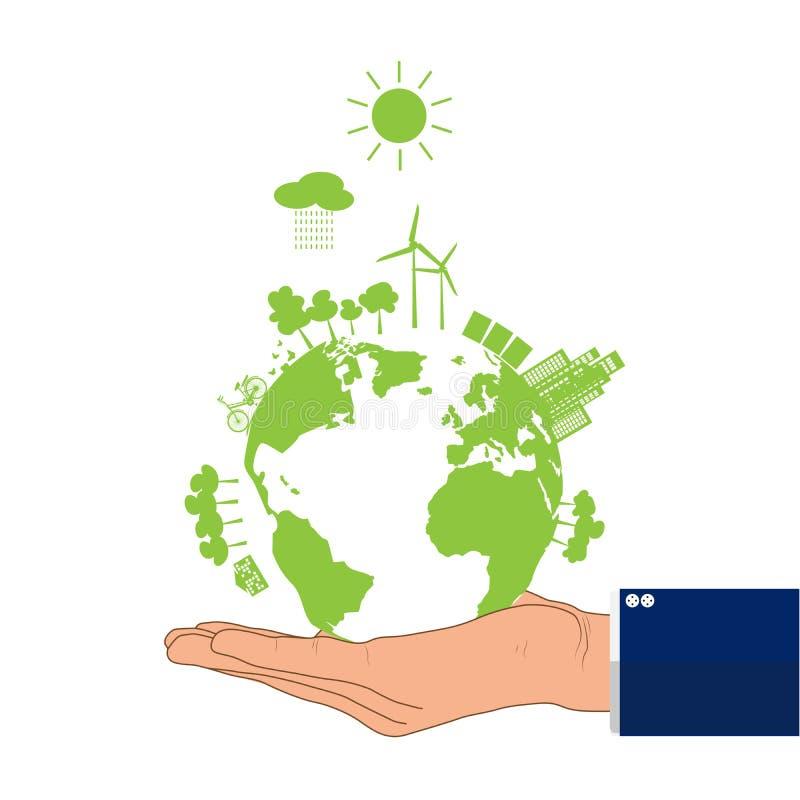 La mano dell'uomo d'affari che tiene terra verde, concetto ambientale illustrazione di stock