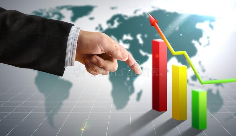 La mano dell'uomo d'affari con finanza conta l'economia immagine stock