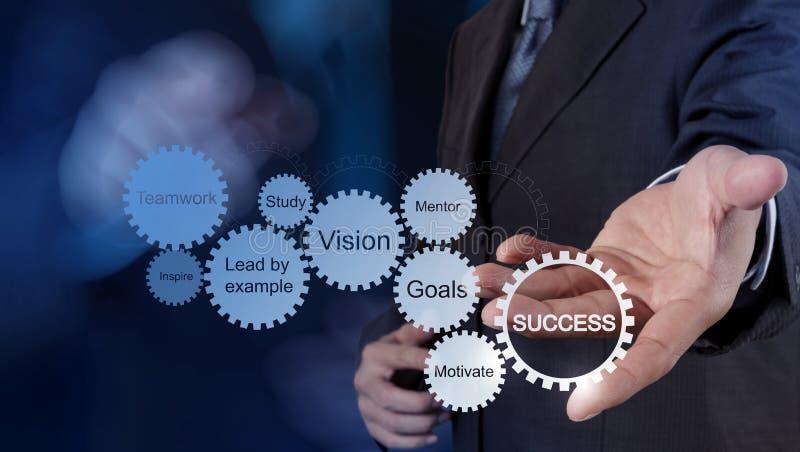 La mano dell'uomo d'affari mostra il grafico di successo di affari dell'ingranaggio fotografia stock libera da diritti