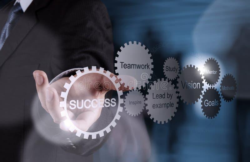 La mano dell'uomo d'affari mostra il grafico di successo di affari dell'ingranaggio immagine stock