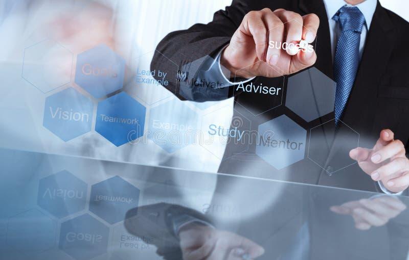 La mano dell'uomo d'affari mostra il grafico di successo di affari dell'ingranaggio fotografie stock