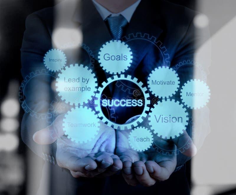 La mano dell'uomo d'affari mostra il grafico di successo di affari dell'ingranaggio immagini stock libere da diritti