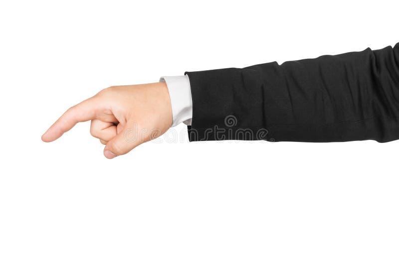 La mano dell'uomo di affari che indica giù immagine stock