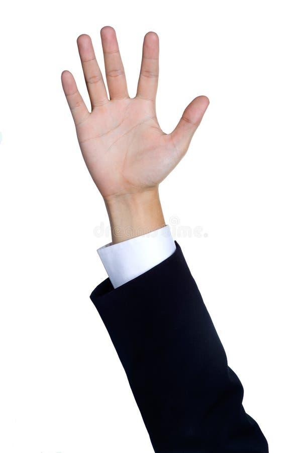 La mano dell'uomo firma dentro il vestito isolato fotografia stock