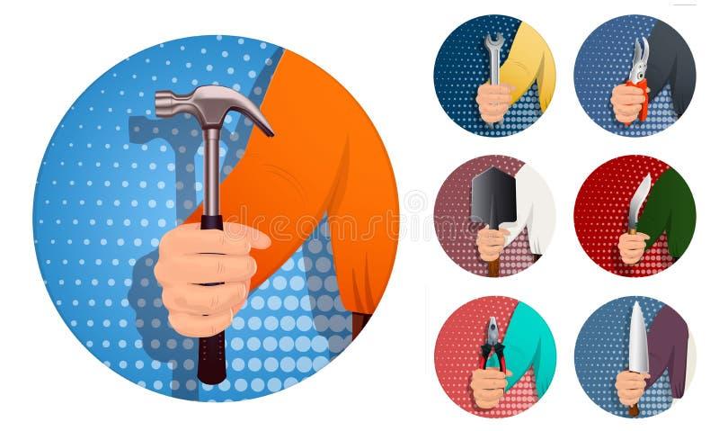 La mano dell'uomo s tiene lo strumento royalty illustrazione gratis