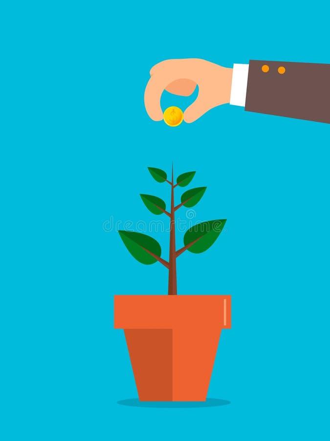 La mano dell'uomo tiene i soldi sotto l'albero Investimento, risparmio crescente, riuscito affare, concetto di profitto royalty illustrazione gratis