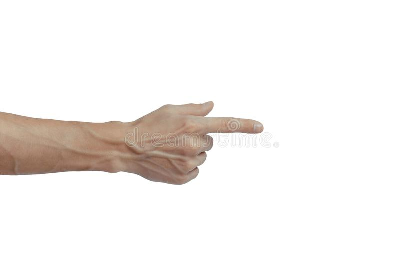 La mano dell'uomo tocca o punta verso qualcosa di isolato su fondo bianco Vene visibili sul braccio fotografie stock