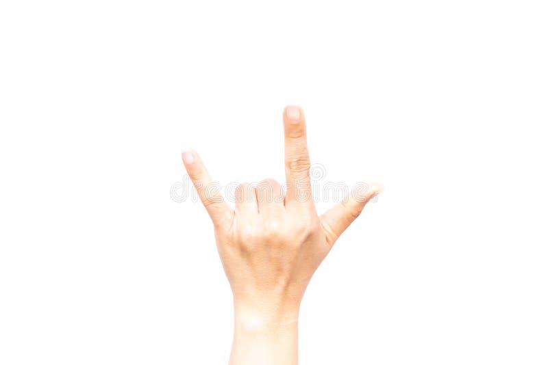 La mano della donna asiatica è simbolo di gesto di manifestazione che l'amore ha isolato sopra fotografia stock